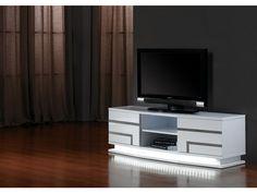 Meuble TV LUMINESCENCE - MDF laqué blanc et LEDs