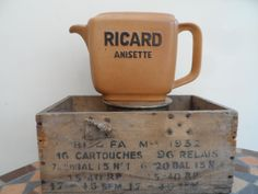 Retro original French Stoneware Ricard Pastis Water Jug  – Ricard Anisette Oblong in shape by VintageFoggy on Etsy