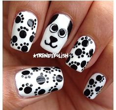 45 Cute Animal Nail Art Prints That Are Really Inspirational - Nail Designs Dog Nail Art, Animal Nail Art, Dog Nails, Nail Art Kids, Nails For Kids, Girls Nails, Animal Nail Designs, Nail Art Designs, Trendy Nails