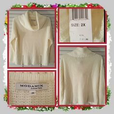 💙 Woman's Plus Size White Sweater Size 2X 💙 Brand new with tags attached white cowl neck sweater with zippers on the front. this is a reposh just arrived and doesn't fit me it's to tight fitting and short in length on me. Excellent Condition great for fall & winter months 🚫 TRADES 🚫 PAYPAL 🚫 LOWBALLING  PRICE IS FINAL 💙 Modamix Sweaters Cowl & Turtlenecks