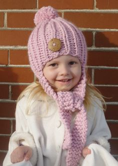 Hand Knit Toddler/Kids Hat with Knit Side Ties, Pom Pom Top, & Large Wood Button YOUR COLOR CHOICE, Knit Kids Hat, Knit Girls Hat, Boys Hat on Etsy, $42.00