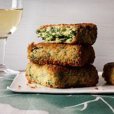 Golden Semolina Quinoa Spinach Cakes Recipe - Maria Helm Sinskey   Food & Wine