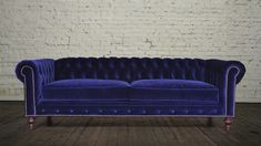 Living Room Sofa Blue Velvet Purple Chesterfield Furniture