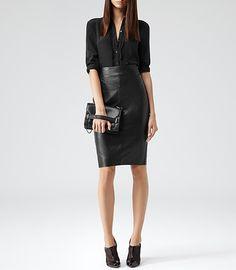 Womens Black Leather Pencil Skirt - Reiss Shannon