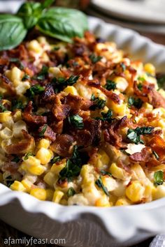 Mix fresh cut kernels of corn and bacon in thislight, creamy garlic sauce. Get the recipe at A Family Feast. Tools you'll need: $19, Good Cook OvenFresh Stoneware Ceramic Casserole Dish, amazon.com