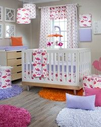 Lilly and Flo flamingo baby bedding for your baby nursery.  Glenna Jean designer baby bedding in fun pinks and oranges.