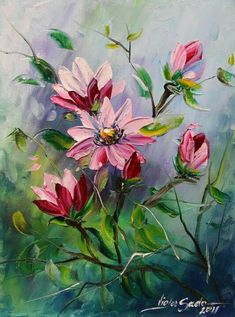 Wild rose painting. So elegant. Beautiful background colors.