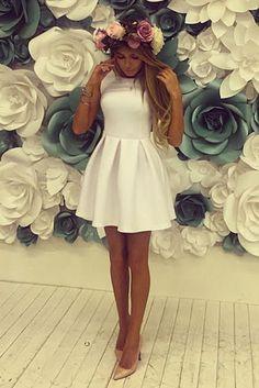 white summer skater dress, so lovely