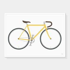 Road Bicycle Art Print (Yellow) — Showler and Showler