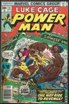 POWER MAN #35 (LUKE CAGE) Marvel Comics 1976 Fine+/VF-  M. Severin Wolfman