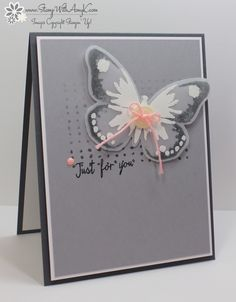 handmade card from Stamp with Amy K ... grays with a pop of pink ... butterfly focal point ... Stampin'up!