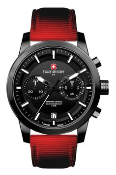 Swiss Military by R 09501 37N N Sniper Men's Watch Chronograph Red Nylon Strap