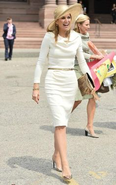 Click to see how Queen Maxima dresses for work, including this long-sleeve white Natan dress