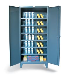 Cabinet with Adjustable Dividers - 12 Gauge heavy duty cabinet with adjustable vertical dividers. 3-point locking device can be locked with a standard padlock.