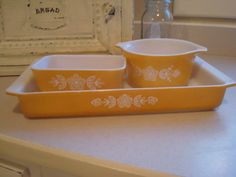 Vintage Pyrex 3 Casserole Dishes...I would love to have that large rectangular one! ~K