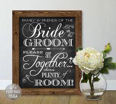 No Seating Plan 7C Chalkboard Printable Wedding by PrintablePixels