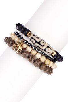 Agate, riverstone, hemalyke, and gray wood bracelet