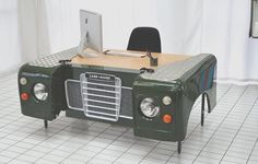 Land Rover office desk custom bespoke up-cycled car furniture hand made unique Garage Furniture, Car Part Furniture, Automotive Furniture, Automotive Decor, Range Rover Classic, Idee Diy, Land Rover Defender, Landing, New Homes