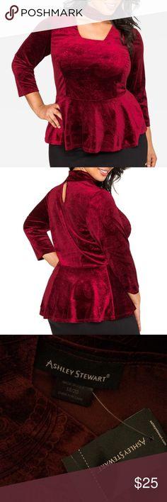983f16f9afeeb Ashley Stewart Tuxedo Molded Bodysuit. See More. NWT 18 20 red velvet  choker peplum top Velvet paisley textured peplum top Choker neck