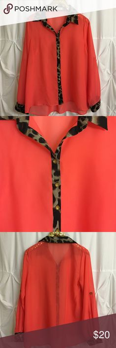 Coral blouse with leopard trim and gold buttons! Coral blouse with leopard trim and gold buttons! Size Medium. Purchased from Apricot Lane Boutique. Tops Blouses