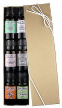 Organic Essential oil sampler gift set in box. 6 Organic Oils- Includes 100% Pure, Undiluted, Therapeutic Grade Essential Oils of Eucalyptus, Peppermint, Rosemary, Cedarwood, Sweet Orange and Citronella. 10 ml each.