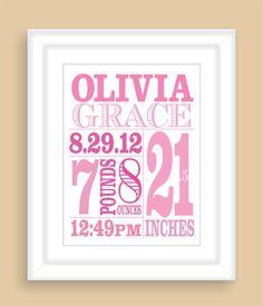 Baby Birth Stats 8x10 Personalized Custom von NatalieDesignStudio, $19.00