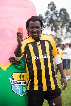 Hassan Wasswa - captain of the Ugandan national team - showing diarrhoea the red card. (Uganda)