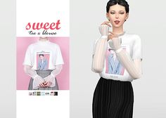 Sweet Tee x Blouse  • New mesh / EA mesh edit  • Category: top (women)  • Age: teen / young adult / adult / elder  • 7 swatches  • Suggested by @catsblob  Download: SimFileShare