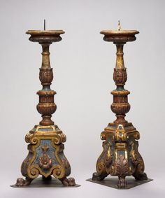 Pair of Candlesticks, late 1400s Italy, probably Tuscany, late 15th century carved and gilded wood, Overall: h. 49.60 cm
