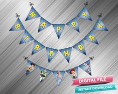 Toy Story 4 Birthday Banner - PrintDParty Selling Birthday Invitation and Printable Party Decoration Digital File. Printable Banner, Printable Birthday Invitations, Party Printables, Birthday Letters, Happy Birthday Banners, Diy Banner, Banner Ideas, Toy Story Invitations, 4th Birthday Parties