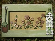 Countryside Framed Coconut Button Flowers
