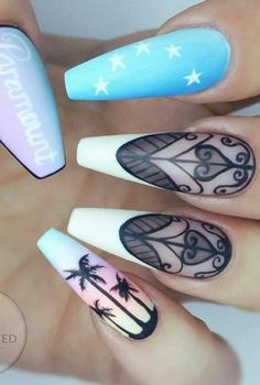 Palm tree nails design nailart @getbuffednails