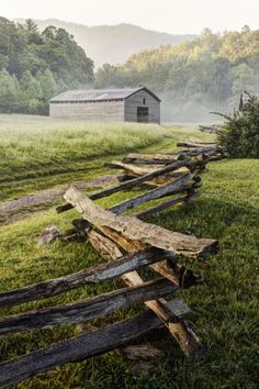 Pioneer's Barn, Split Rail Fence, Cades Cove, Great Smoky Mountains National Park, Tennessee, USA Photographic Print at AllPosters.com