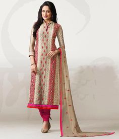 Naksh - Classy Chiku And Pink Chanderi Silk Suit