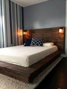Floating Wood Platform Bed frame with Lighted Headboard-Quilmes - Bed Headboard - Ideas of Bed Headboard - Sale! off Floating Wood Platform Bed frame with Lighted Headboard-Quilmes Floating Platform Bed, Floating Bed Frame, Wood Platform Bed, Platform Bed Plans, Platform Bed With Drawers, Floating Headboard, King Size Platform Bed, Headboard With Lights, Bed With Lights