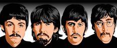 The Beatles Cartoon       Labesl: the beatles caricature ,cartoon, john lennon, paul mccartney, ringo starr, george harrison, liverpool, eng...