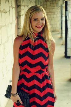 Bold red and black chevron maxi dress love this neckline.