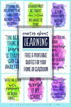 Use these nine free printable quotes about learning to brighten a classroom or home.  Remember why learning and teaching are so important!