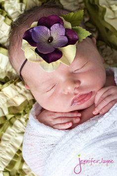 Purple Flower Headband Baby Headband skinny by BambaroosBoutique