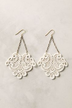 pretty earrings made with lace.