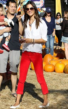 red jeans … Alessandra Ambrosio...I really need some red jeans. This is so cute for the Utah Utes!