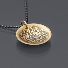 14k Gold Queen Anne's Lace Pendant with Oxidized Sterling Silver Chain by Lisa Hopkins Design