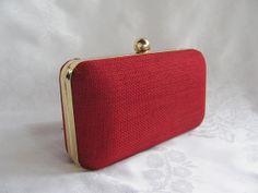 CHERRY  Red Clamshell  clutch purse  Handmade by jemdesign567, $40.00