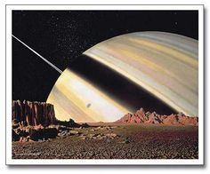 Saturn from Mimas, Chesley Bonestell, one of the master, space art, limited edition