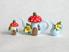 Miniature Fairy Toadstool House Tea Set OOAK by by ArtisticSpirit, $31.50. This should be a gnome house.