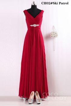 Hot Sale Sheath-Column V-Neck Floor Length Chiffon Bridesmaid Dress COZF14002