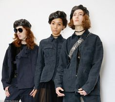 Model style: Models posed up a storm behind the scenes as they waited for the show to kick...