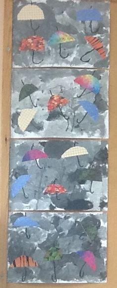 Βροχερός ουρανός και ομπρέλες Νηπιαγωγείο Σγουροκεφαλίου