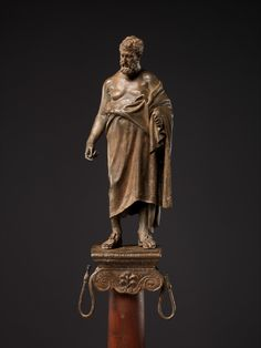 Bronze statuette of a philosopher on a lamp stand Period:Early Imperial, Augustan Date:late century B. Culture:Roman Medium:Bronze Dimensions:Overall: 10 in. Ancient Rome, Ancient Art, Ancient Greek, Cleveland Museum Of Art, Roman Art, Greek Art, Bronze Sculpture, Roman Empire, Metropolitan Museum