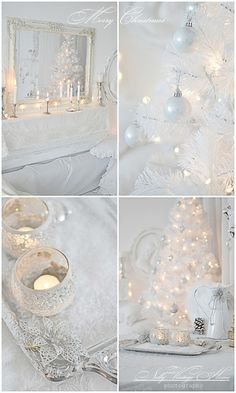 Gorgeous white Christmas tree and decor. Silver ornaments, and plenty of candles and fairy lights add atmosphere.